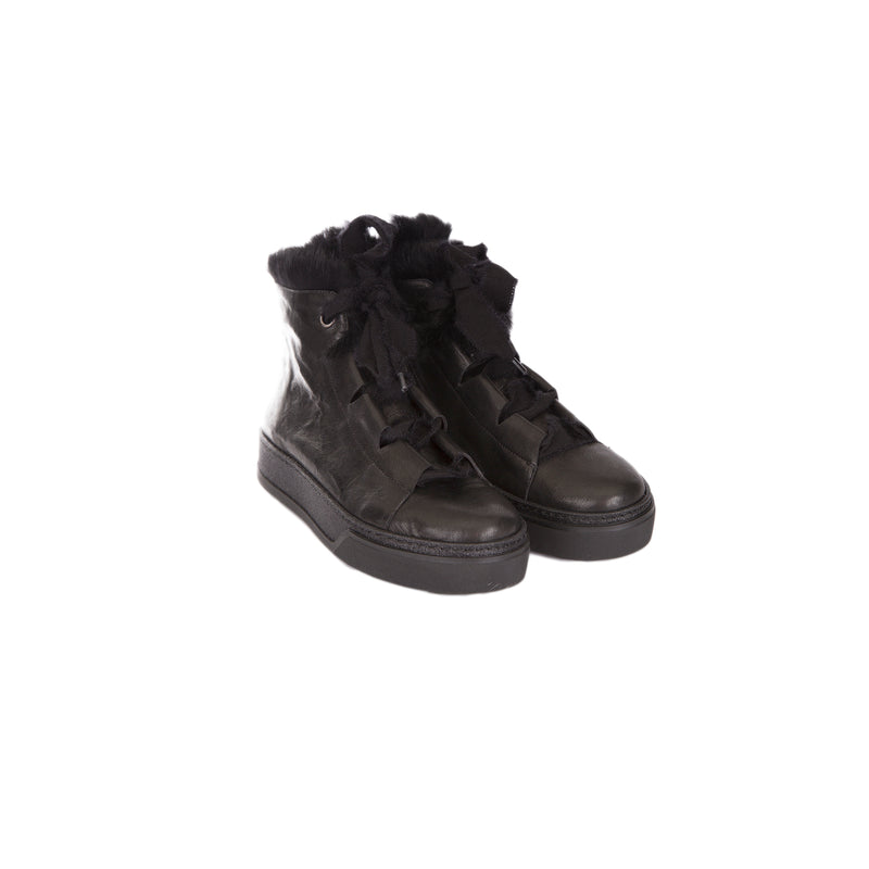 High Sneaker Fur Metal Wash Nero