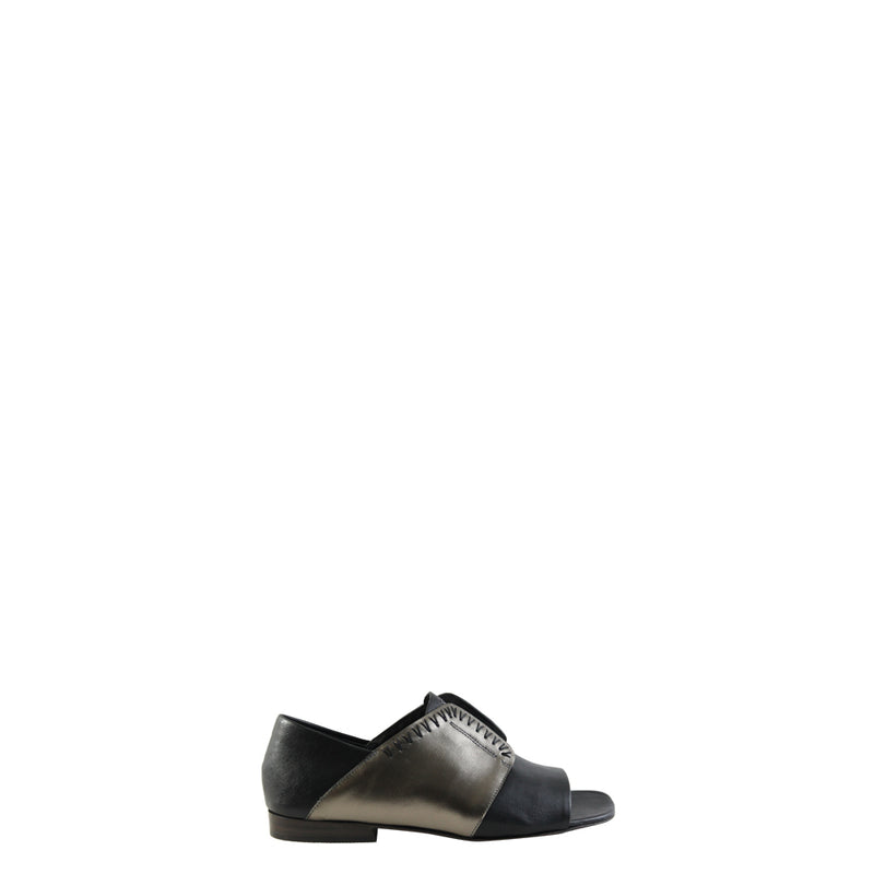 Open Toe Greca Metal Wash/Palm Laminated Nero
