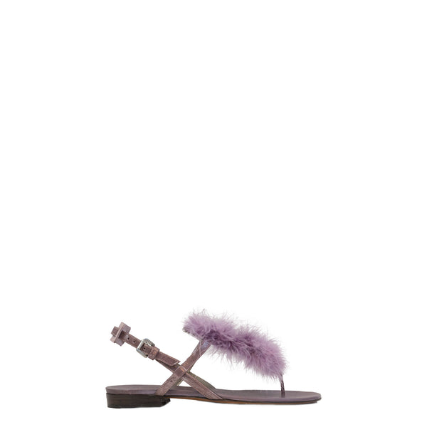 Thong Sandal Piume Metal Wash Orchidea