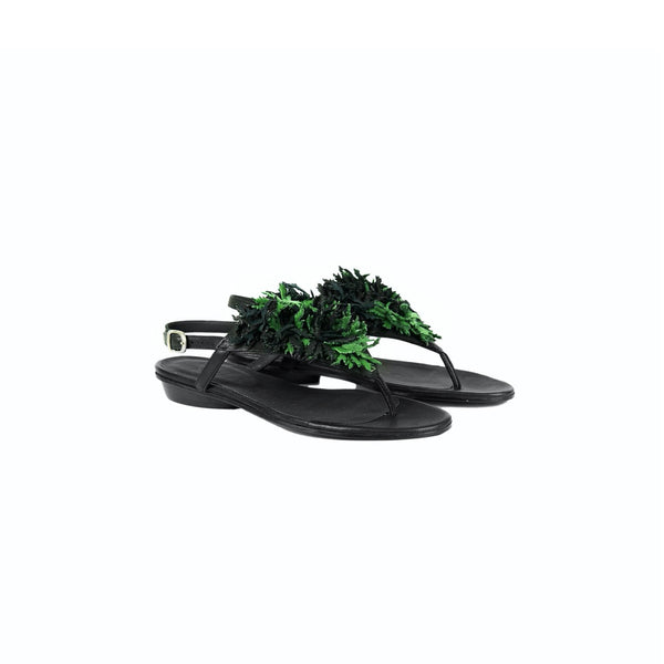 Thong Sandal Fiori Verde Ranch Nero