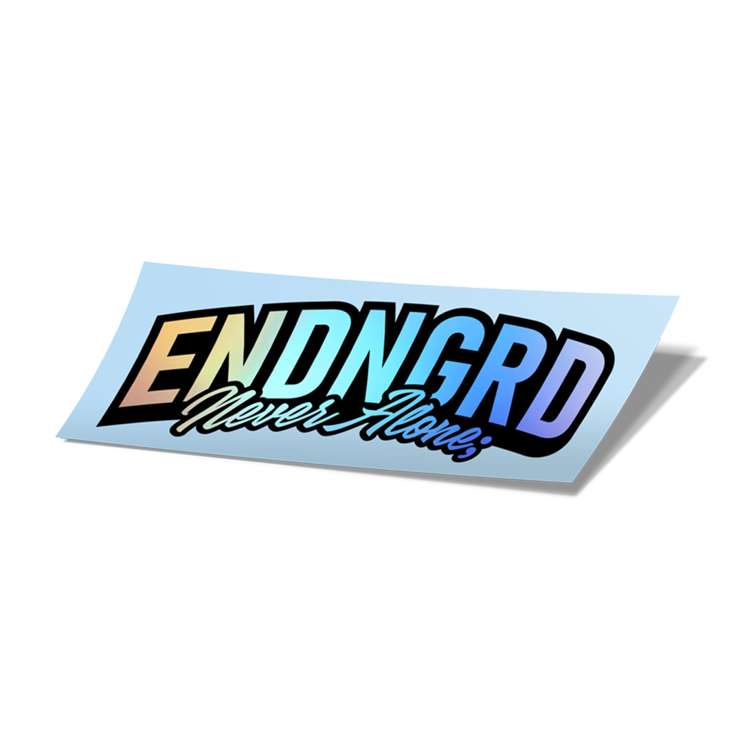 ENDNGRD Never Alone; Cursive Sticker - Black/Holographic