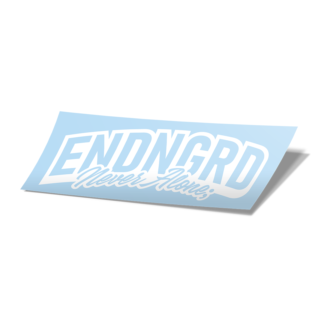 ENDNGRD Never Alone; Cursive Vinyl Cut Decal - White