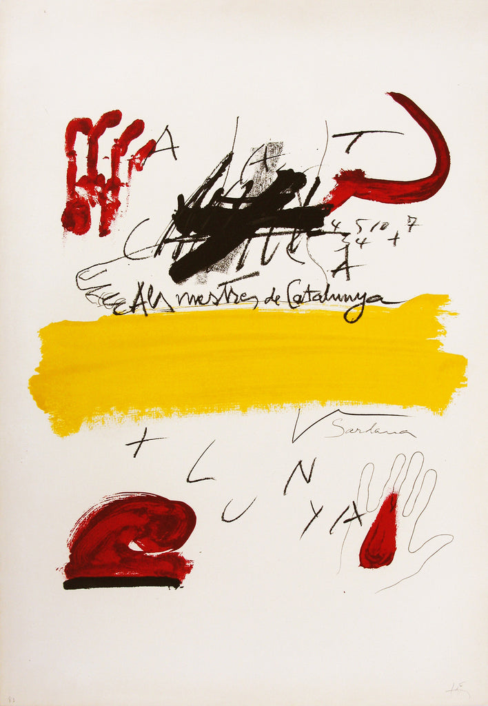 Antoni Tàpies 'To the Catalan Teachers N6' - Lithograph