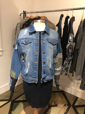 Something Natural Distressed Custom Denim Jacket