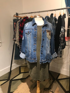 SOLD- custom Authentic Distressed Denim Jacket
