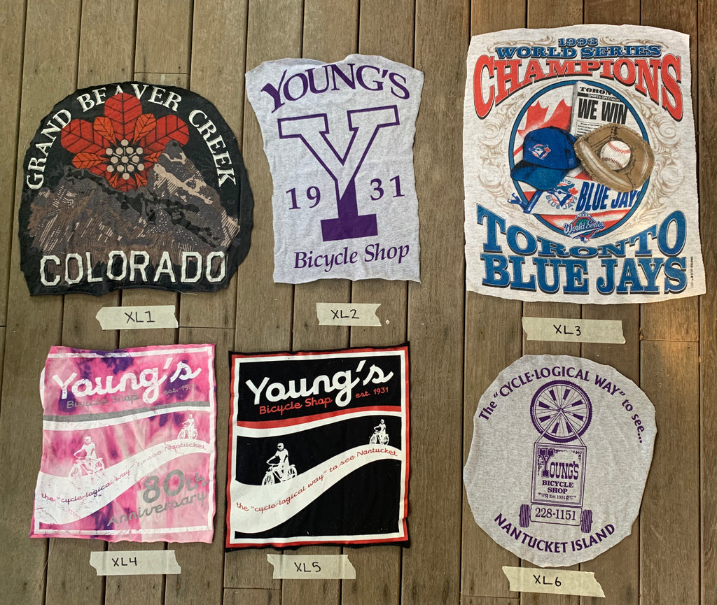 6 Vintage T-shirt patches with Nantucket , Colorado, Toronto blue jays