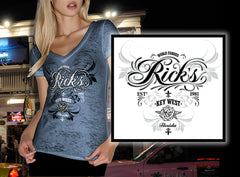 Ladies Rick's V Neck Script T