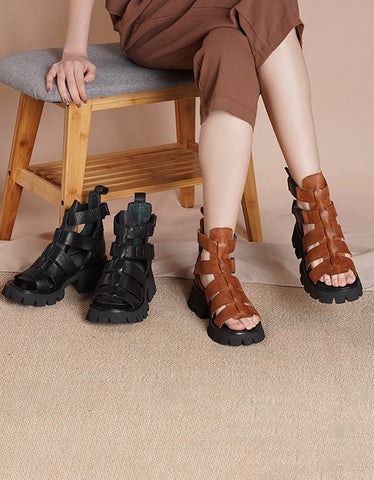 Spring Summer Thick-soled Fish Toe Strap Sandals