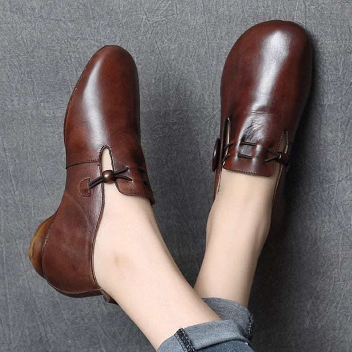 Gift Shoes Autumn Retro Leather Women's Flat Shoes