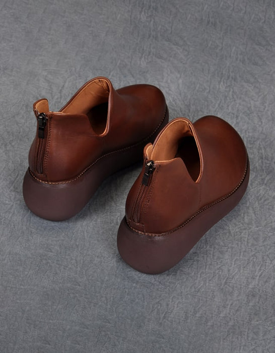 Autumn Spring Retro Leather Round Head Wedge Shoes