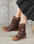 Autumn Winter Hand-Painted Leather Women's Boots