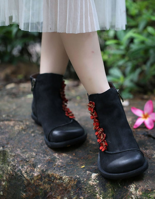 Autumn Winter Handmade Retro Double Leather Boots