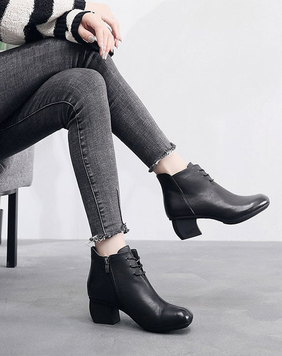 Autumn Winter Lace Up Retro Leather Chunky Boots