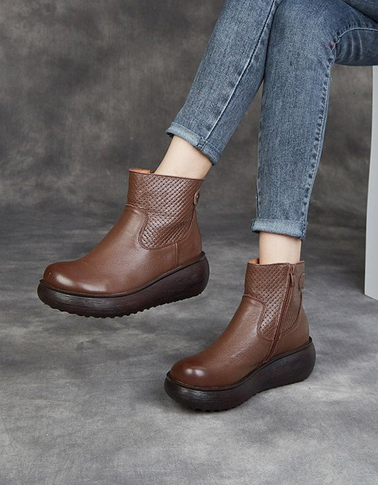 Autumn Winter Leather Comfort Platform Boots
