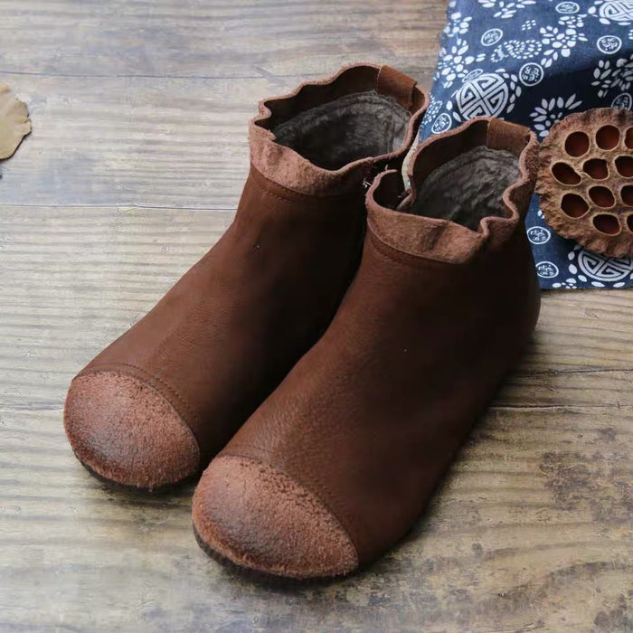 Gift Shoes Autumn Casual Flat Soft Bottom Leather Women's Boots
