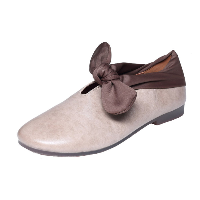 Gift Shoes Autumn Casual Retro Leather Flat Handmade Women Shoes