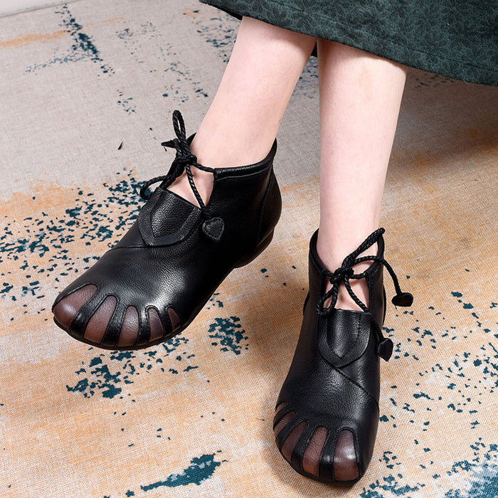Gift Shoes Autumn Leather Retro Handmade Soft Bottom Ankle boots