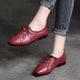 Autumn Retro Leather Square Head Handmade British style Flats |Gift Shoes
