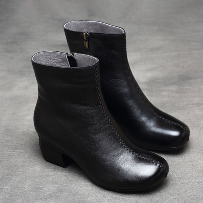 Retro Leather Chunky Women's Boots