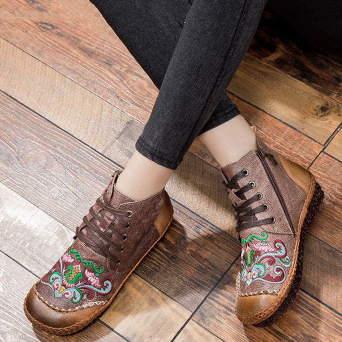 Autumn Vintage Retro Leather Handmade Women's Boots | Gift Shoes