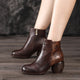 Autumn Winter Retro Leather Chunky Heels Ankle Boots