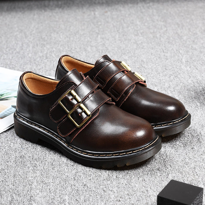 Autumn Winter Leather Retro Shoes | Gift Shoes