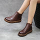 Autumn Winter Leather Retro Soft Bottom Short Women's Boots | Gift Shoes