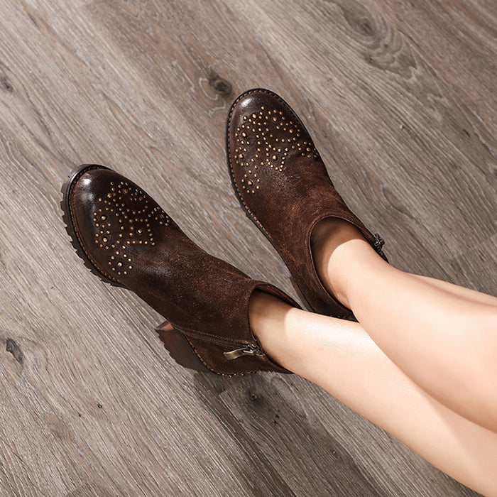 Autumn Winter Leather Retro Women's Ankle Boots | Gift Shoes