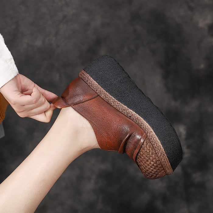 Autumn Winter Leather Thick Retro Waterproof Platform Comfortable Women's Shoes