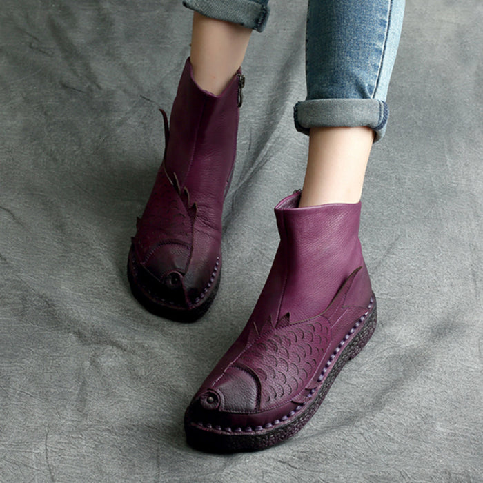 Autumn Winter Retro Leather Handmade Ankle Women's Boots | Gift Shoes