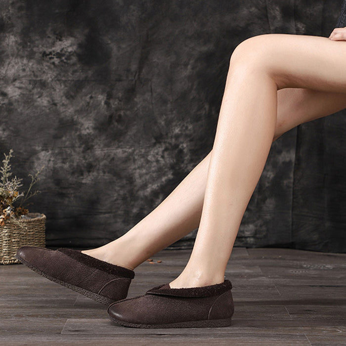Autumn Winter Soft Bottom Leather Flat Retro Women's Shoes | Gift Shoes