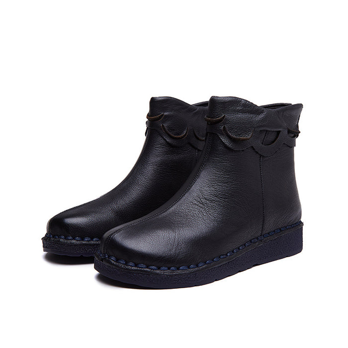 Autumn Winter Soft Handmade Retro Leather Boots