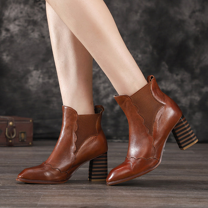 Autumn Winter Thick High-Heeled Women Ankle Boots