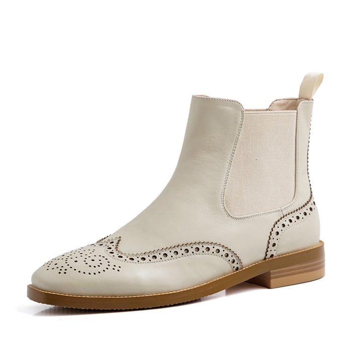 Vintage British Style Women Beige Oxford Boots