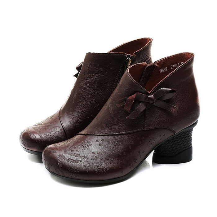 National Style Leather Retro Chunky Shoes