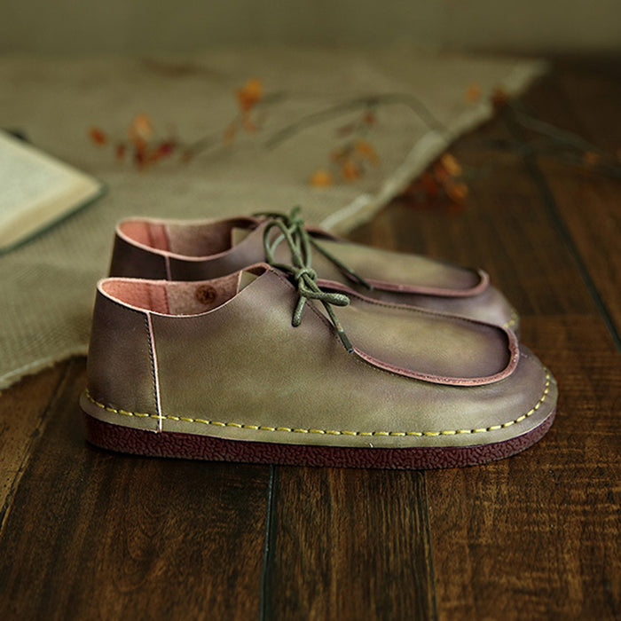 Casual Retro Leather Comfotable Casual Flat Women's Shoes | Gift Shoes
