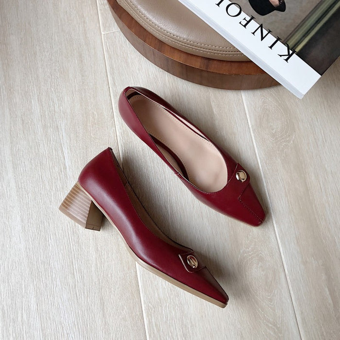 Chunky Heel Square Head Pumps  | Gift Shoes