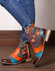 Colorful Ethnic Leather Women Short Boots 35-42