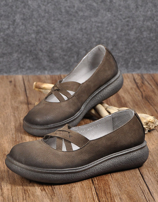 Comfortable Cross Strap Flats Loafers