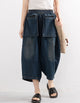 Washed Women Cropped Loose Denim Pants