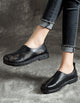 Cow Tendon Retro Leather Flat Shoes 35-43