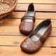 Cowhide Leather Hollow Summer Retro Flat Shoes