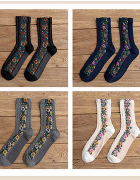 4 Pair Vintage Socks Women's Long Tube Socks Floral