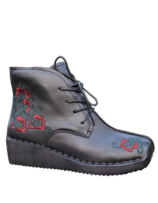 Ethnic Style Leather Embroidered Lace up Retro Boots