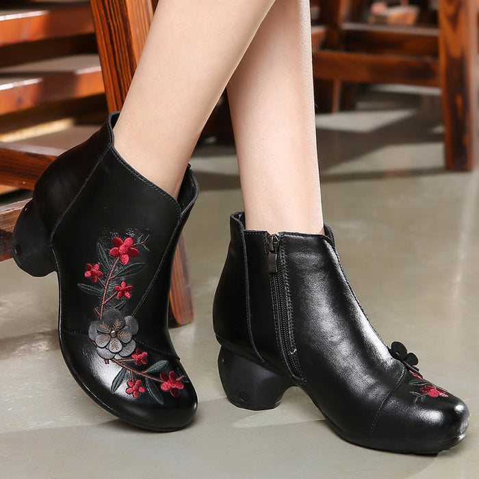 Embroidered Flower Retro Chunky Boots Women