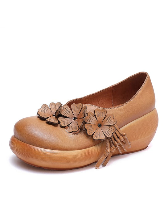 Flower Handmade Leather Shoes Women's Ethnic Shoes