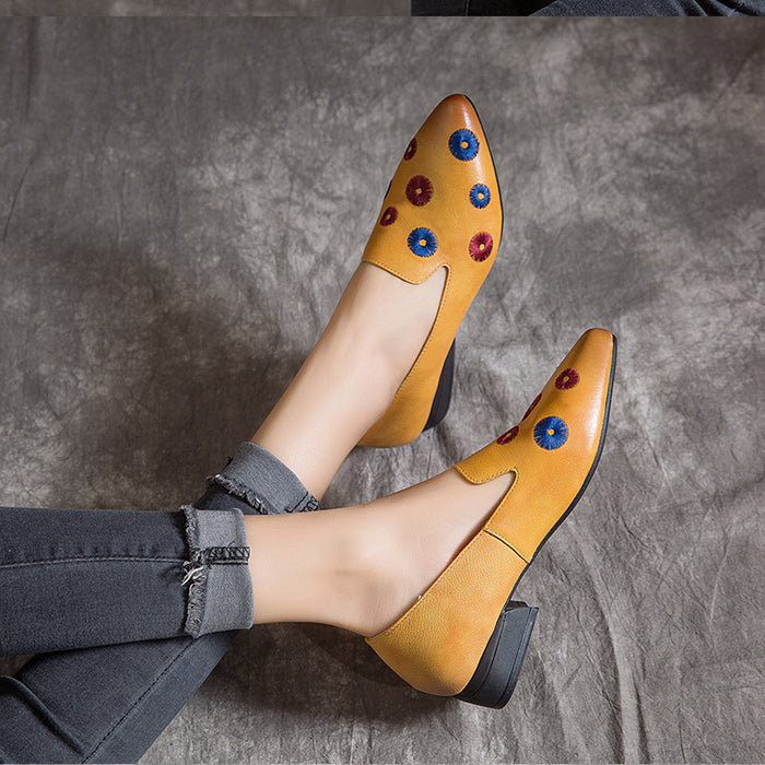 Gift Shoes Spring Leather Fashion Women's Low-Heeled Shoes