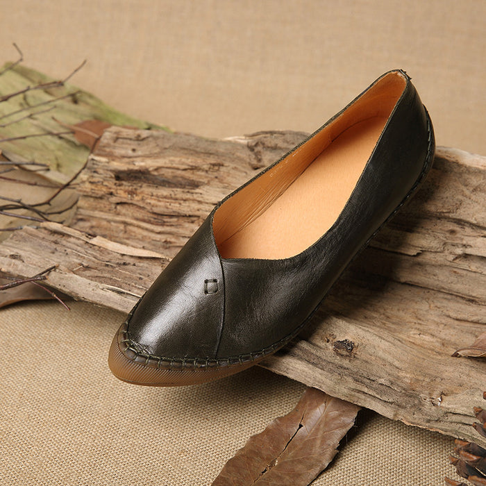 Hand-Stitched Retro Pointed Flats