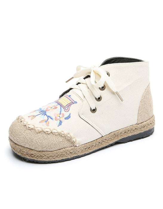 Handmade Embroidery Linen Comfortable Shoes