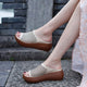 Handmade Leather Hollow Summer Wedge Slippers